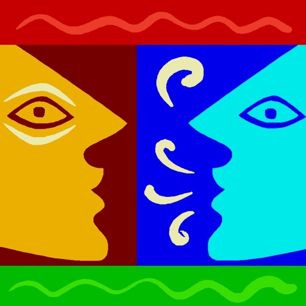 Two faces talking to each other brigthly coloured graphic