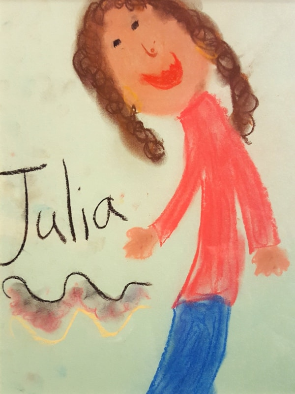 Child's paining of counsellor and therapist Julia Hughes