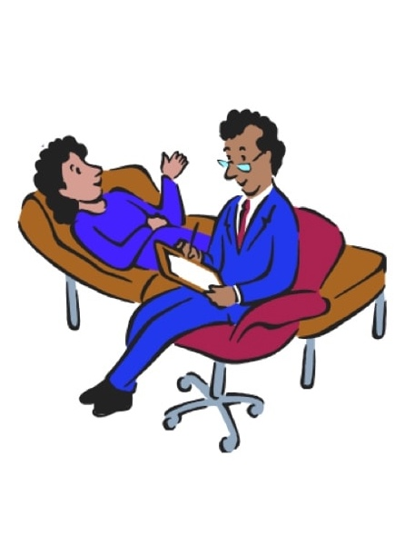 Cartoon of therapist and patient lying on couch